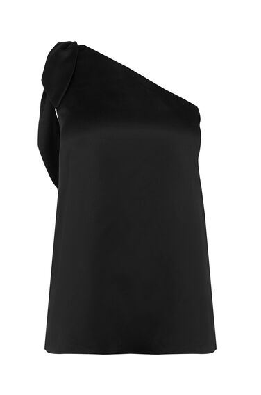 Warehouse, TIE ONE SHOULDER TOP Black 0