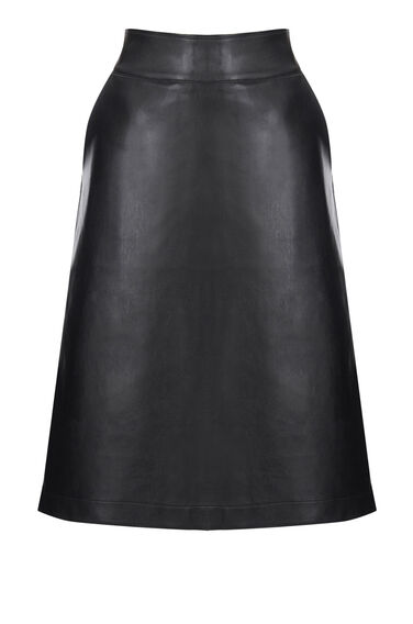 Warehouse, Clean Faux Leather Midi Skirt Black 0