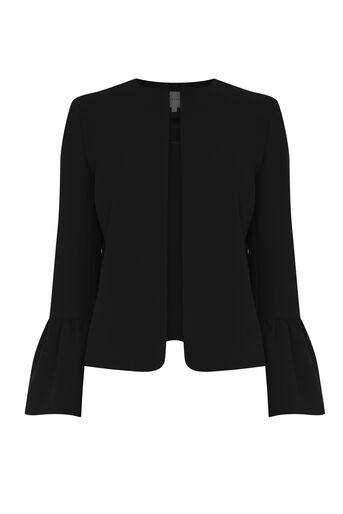 Warehouse, FLUTE SLEEVE JACKET Black 0