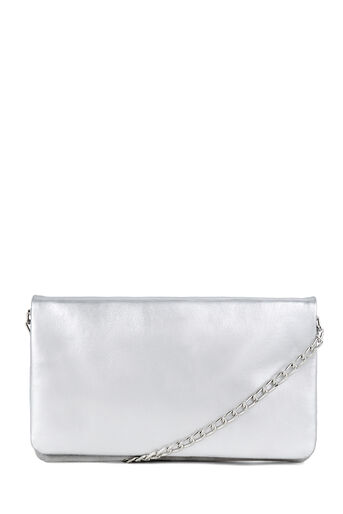 Warehouse, LEATHER CHAIN CROSSBODY Silver Colour 0