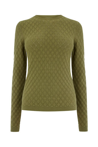 Warehouse, SCALLOP STITCH JUMPER Khaki 0