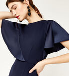 Warehouse, SATIN AND CREPE MIX DRESS Navy 4