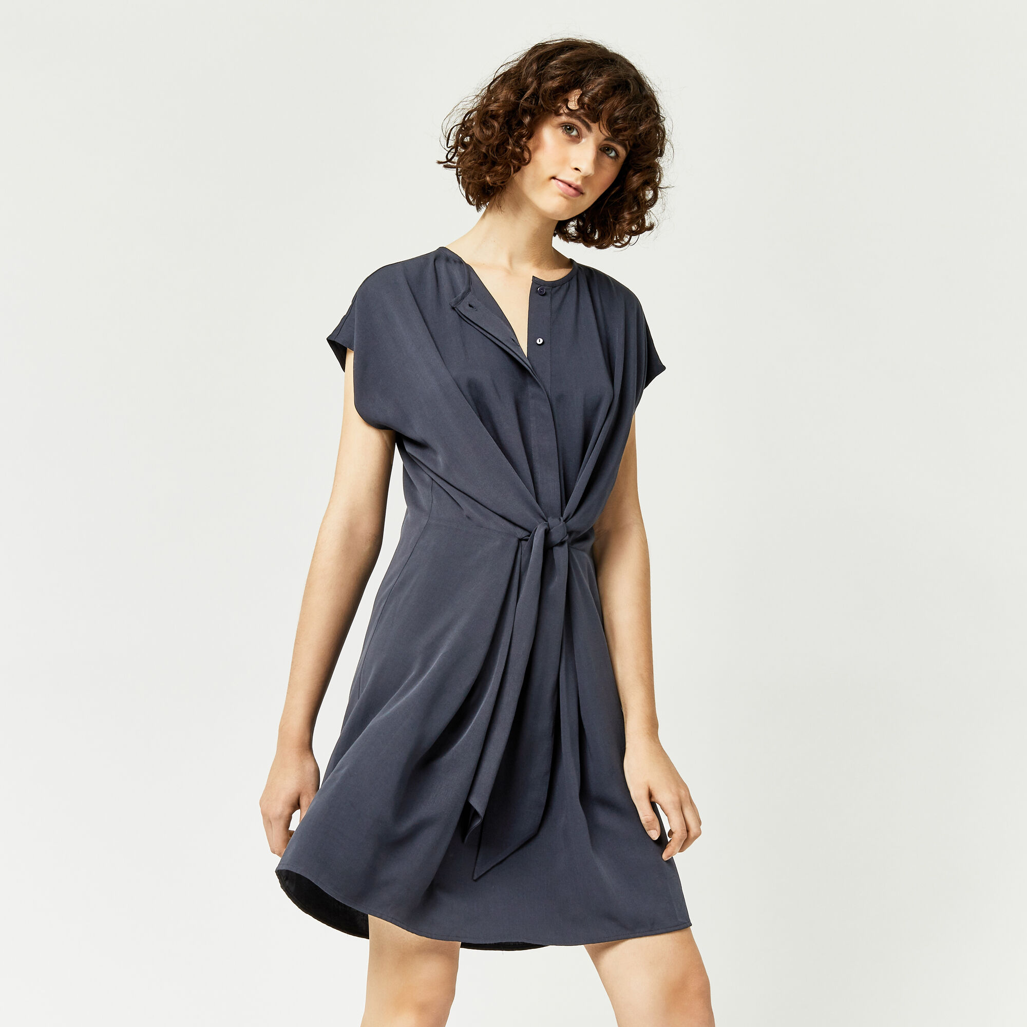 Warehouse, TIE FRONT CASUAL SHIRT DRESS Navy 1