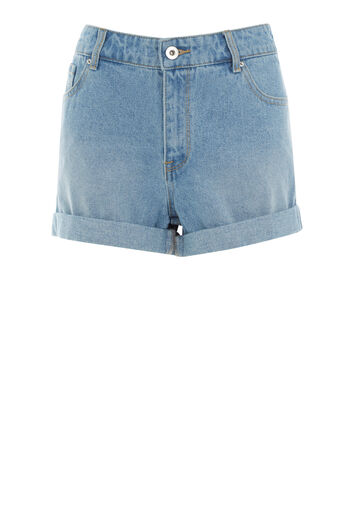 Warehouse, Turn Up Denim Shorts Light Wash Denim 0