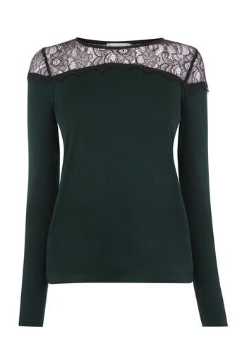 Warehouse, LACE PANEL JERSEY TOP Dark Green 0