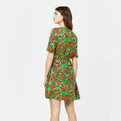 Warehouse, WOODBLOCK DAISY FLIPPY DRESS Green Print 3
