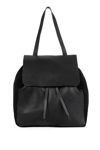 Warehouse, Leather Suede Rucksack Black 0