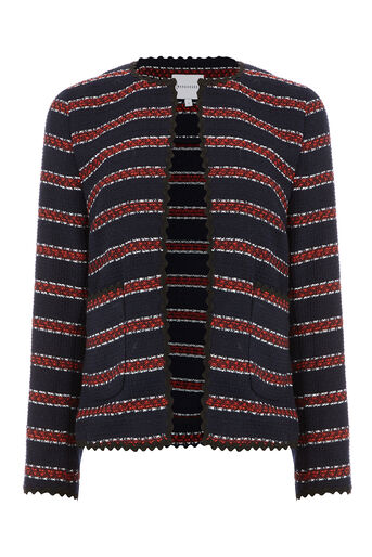 Warehouse, BRIDGET STRIPE JACKET Blue Stripe 0