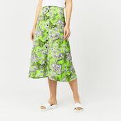 Warehouse, TIGER PRINT MIDI SKIRT Green Print 1