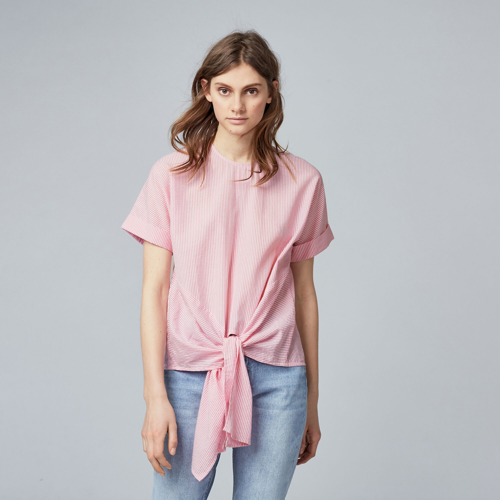 Warehouse, TIE FRONT STRIPE TOP Pink Stripe 1
