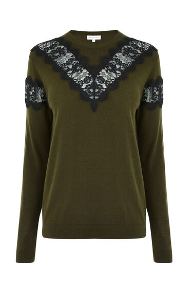 Warehouse, LACE INSERT CREW JUMPER Khaki 0