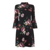 Warehouse, COUNTRY ROSE PONTE DRESS Black Pattern 0