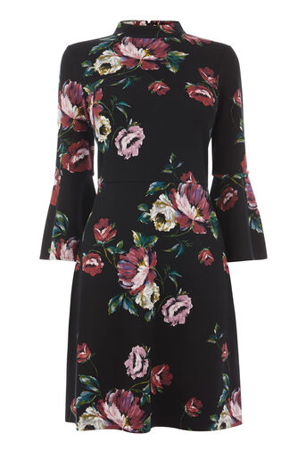 Warehouse, COUNTRY ROSE PONTE DRESS Black Pattern 0