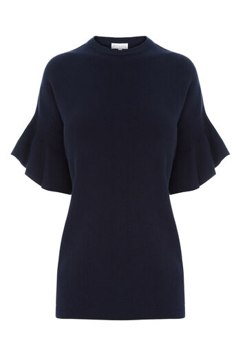 Warehouse, FRILL SLEEVE KNIT TOP Navy 0
