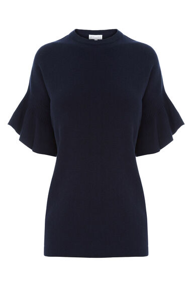 Warehouse, FRILL SLEEVE TOP Navy 0