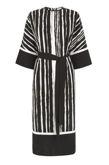 Warehouse, TORN STRIPE SHIFT DRESS Black Stripe 0