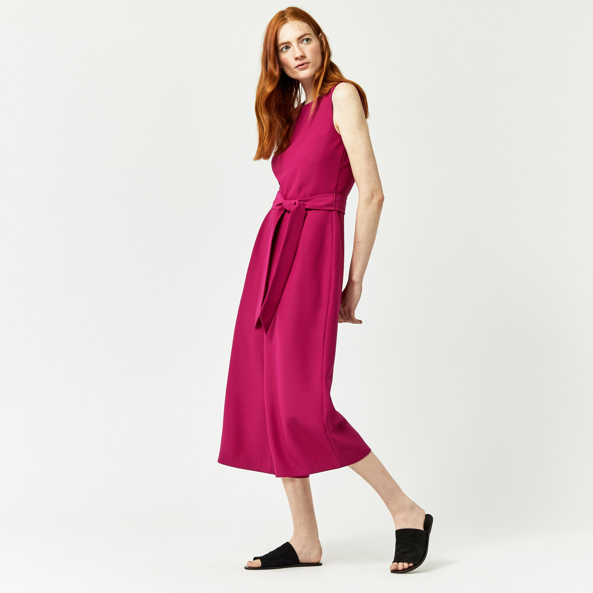 Warehouse, OPEN BACK CULOTTE JUMPSUIT Bright Pink 1