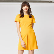 Warehouse, BOX PLEAT DRESS Yellow 1
