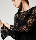 Warehouse, VELVET LACE TOP Black 4