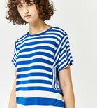 Warehouse, STRIPE PANEL CUTABOUT TEE Blue Stripe 1
