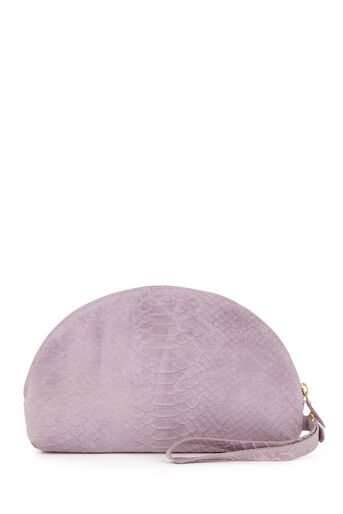 Warehouse, SUEDE EMBOSSED CLUTCH BAG Lilac 0