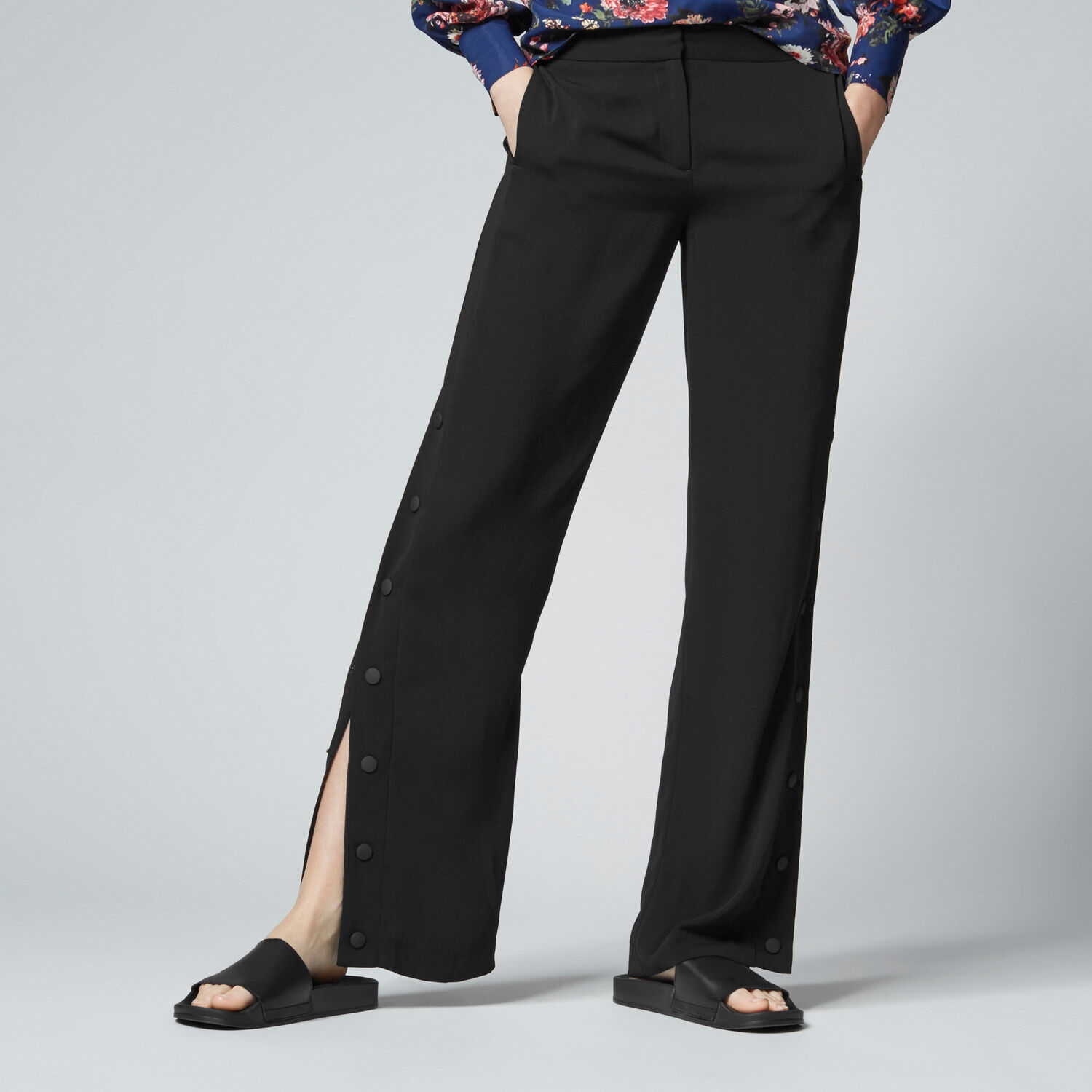 Warehouse, POPPER SIDE TROUSERS Black 1