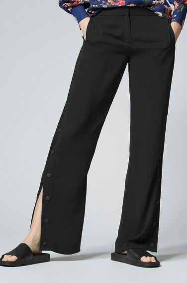 Warehouse, POPPER SIDE TROUSERS Black 0
