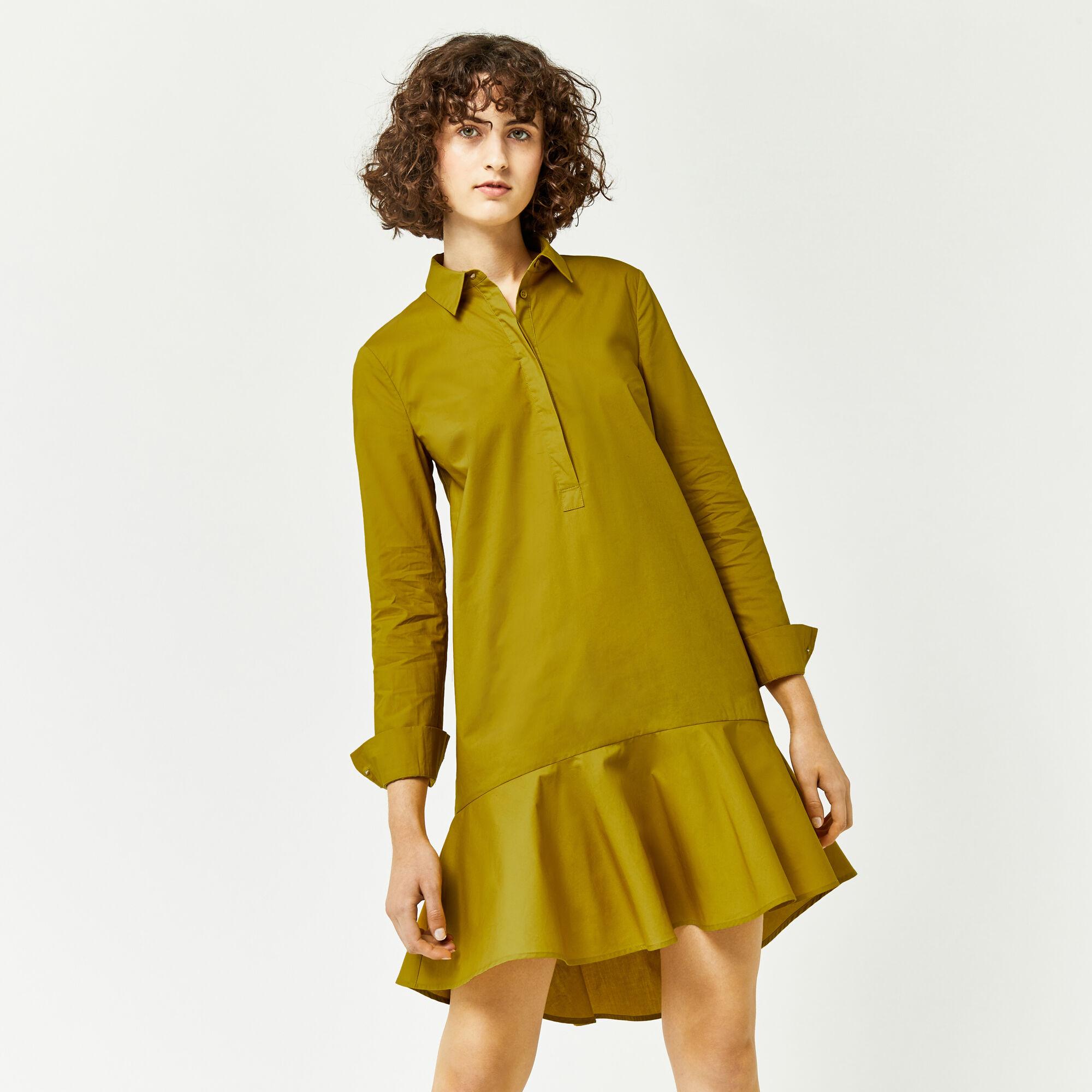 Warehouse, PEPLUM COTTON SHIRT DRESS Mustard 1
