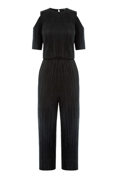 Warehouse, COLD SHOULDER WAFFLE JUMPSUIT Black 0