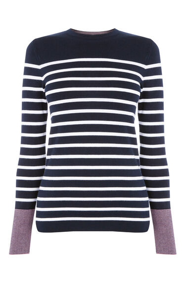 Warehouse, MINI STRIPE CREW JUMPER Navy 0