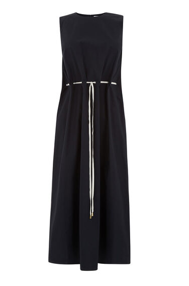 Warehouse, DRAWSTRING WAIST MIDI DRESS Navy 0