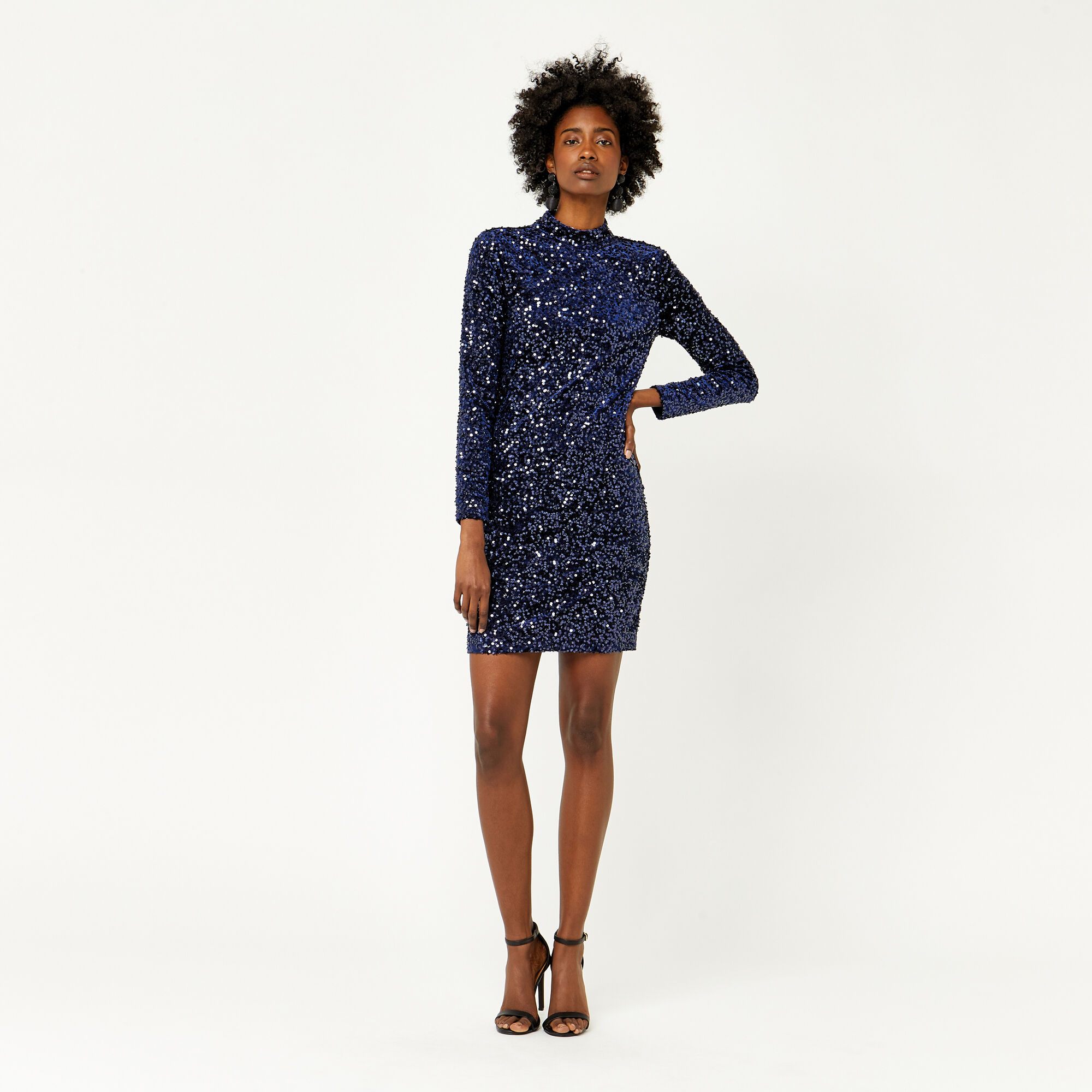 Warehouse, VELVET SEQUIN HIGH NECK DRESS Navy 1