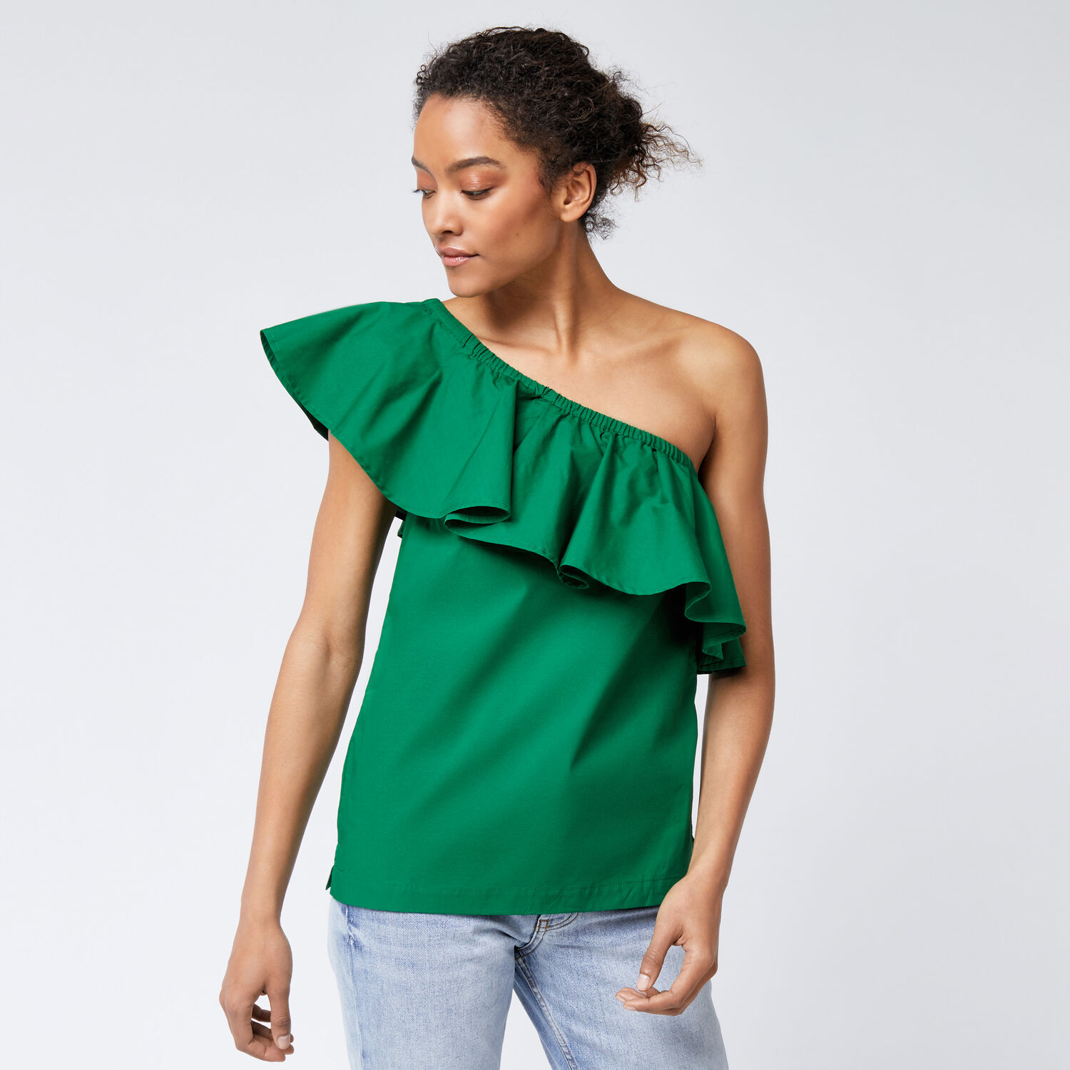 Warehouse, COTTON RUFFLE ONE SHOULDER TOP Bright Green 1