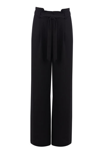 Warehouse, PAPER BAG WIDE LEG TROUSER Black 0