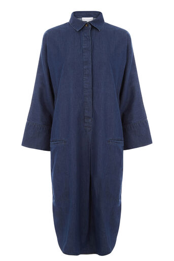 Warehouse, Denim Shirt Dress Mid Wash Denim 0