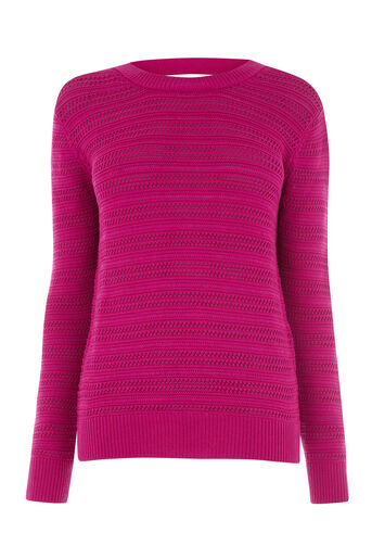 Warehouse, STITCHY OPEN BACK JUMPER Bright Pink 0