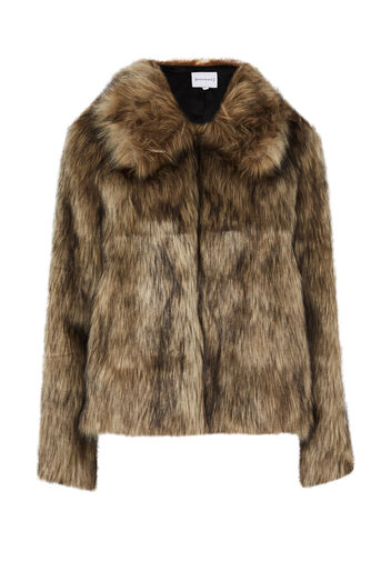Warehouse, SHORT FAUX FUR COAT Brown 0