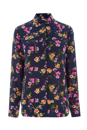 Warehouse, SPACED SIDNEY FLORAL SHIRT Navy 0