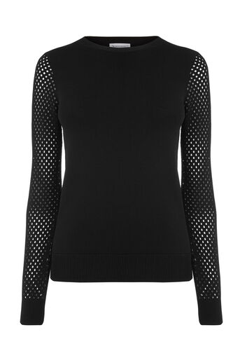 Warehouse, MESH SLEEVE JUMPER Black 0