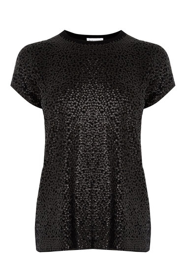 Warehouse, SEQUIN FRONT KNITTED TOP Black 0