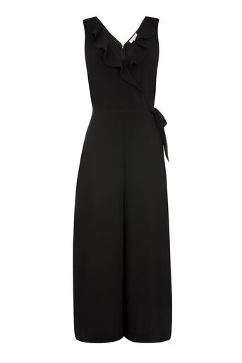 Warehouse, FRILL WRAP JUMPSUIT Black 0