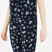 Warehouse, Leaf Print Jumpsuit Blue Pattern 4