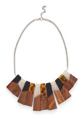 Warehouse, WOOD FAN NECKLACE Brown Print 0