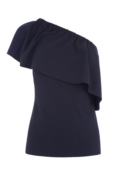 Warehouse, ONE SHOULDER CREPE FRILL TOP Navy 0