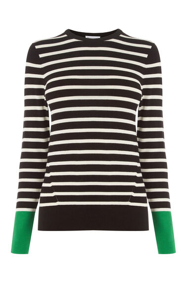Warehouse, BLOCK STRIPE JUMPER Black 0