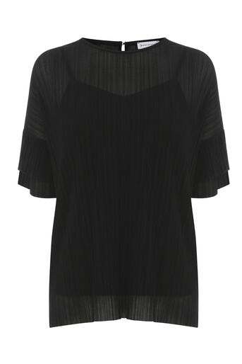 Warehouse, PLISSE FRILL SLEEVE TOP Black 0
