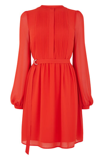 Warehouse, CHIFFON SHIRT DRESS Bright Red 0