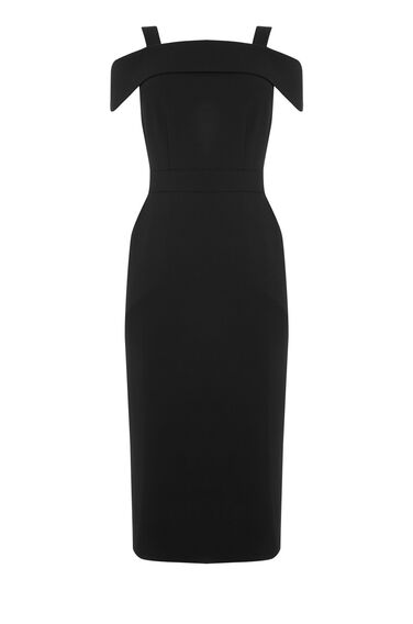 Warehouse, CREPE OFF SHOULDER DRESS Black 0