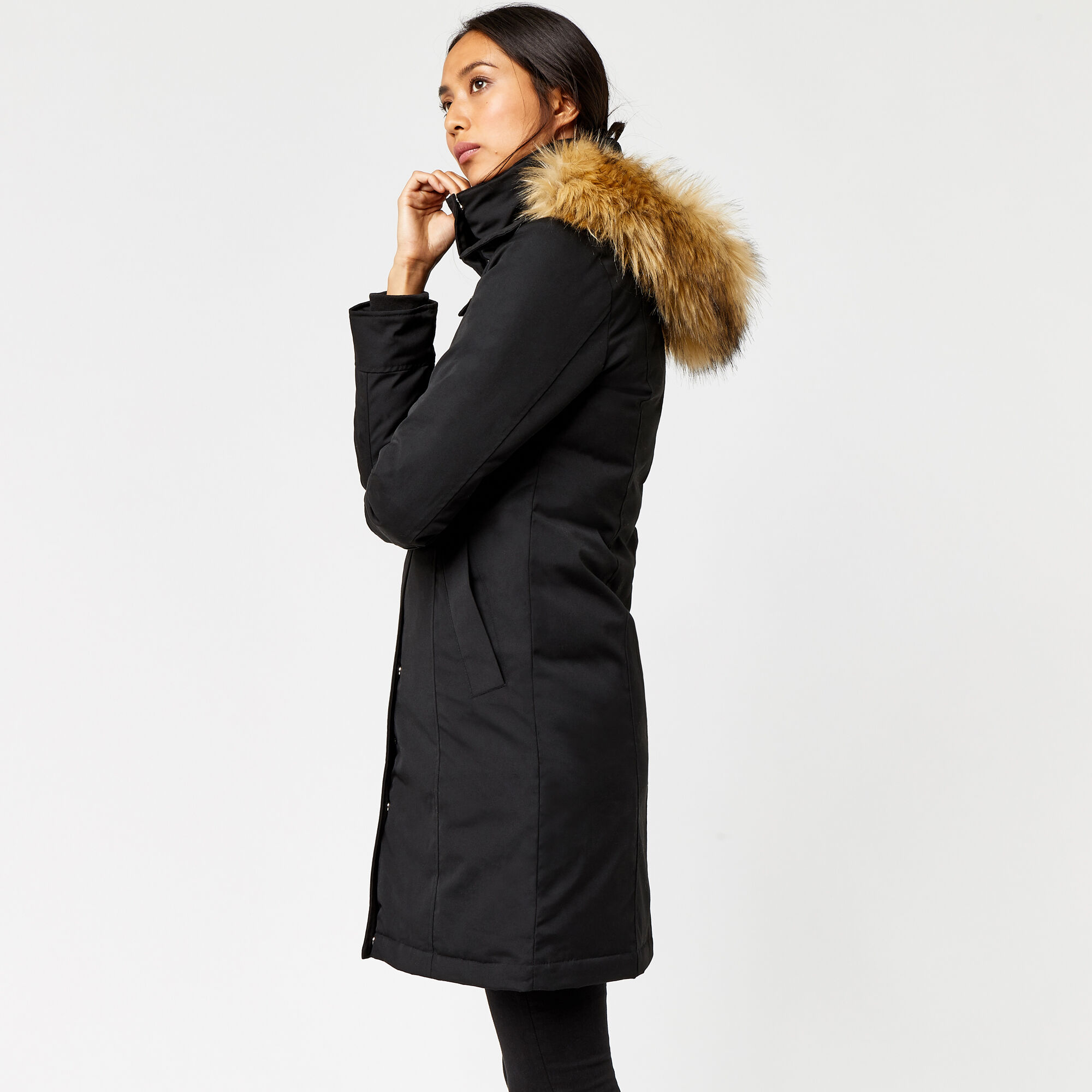 Warehouse, Clean Fitted Wadded Coat Black 1