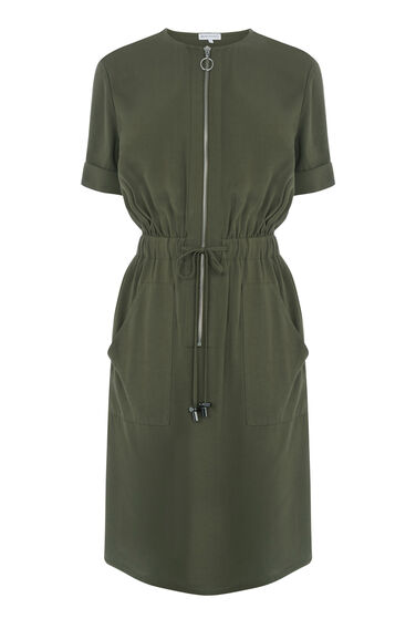 Warehouse, CASUAL UTILITY DRESS Khaki 0
